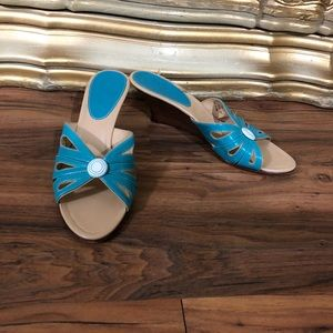 Cole Hann New Condition Turquoise Wedge Sandals
